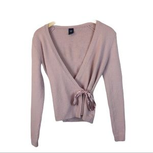 GAP pink faux wrap sweater